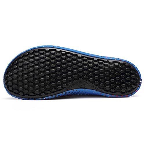 Sixspace Unisex Strandschuhe Aquaschuhe Schwimmschuhe Badeschuhe Wasserschuhe Surfschuhe für Damen Herren Kinder Blau-05