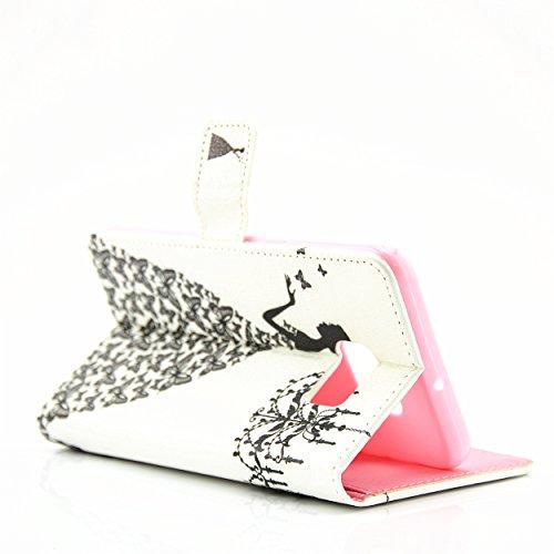 Ecoway Case / Cover / Téléphone / Pouch Elegant 3D incrusté Bling Crystal Glitter Housse en cuir strass diamant PU avec support dans BookStyle poches de carte de crédit de fonction avec intérieur doux papillon Jupe