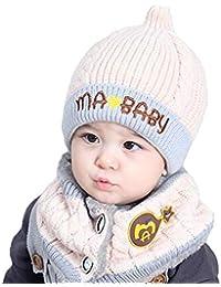 Niulove Inverno Berretto Bambino Capretti Ragazzi Caldo Hood Sciarpa Lana  Cappelli Carino Inverno Bambino Ragazze Caldo aba4c2c08a8d