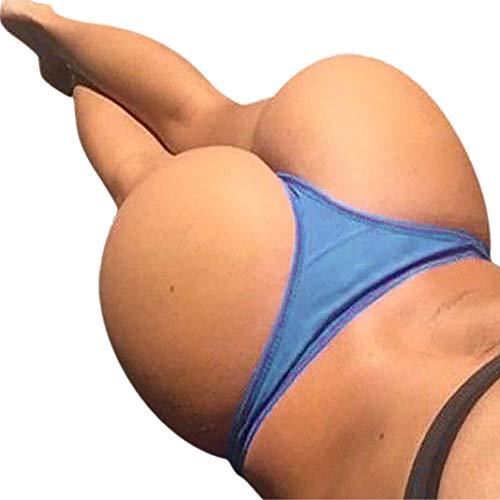 URSING_Damen Shorts Brazilian Slip Bikini Badehose Strand Mini Tanga Rüsche Design Badeanzüge G-String Unterwäsche Baden Tanga Bikinihose Badeshorts Reizvolles Schwimmshorts Badeslip (S, Blau) - Rüschen Tanga-shorts
