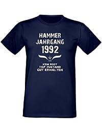 Fun T-Shirt Tolles Geschenk zum 25. Geburtstag Hammer Jahrgang 1992 Qualitativ Hochwertig Formschön-angehnem zu tragen Farbe: navy-blau