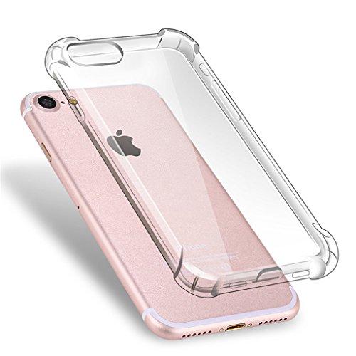Cover iPhone 7 Plus + [2 Pezzi] iPhone 7 Plus Pellicola Vetro Temperato, Bestsky AntiUrto Shock Absorbing Pannello Posteriore Trasparente Silicone Custodia per Apple iPhone 7 Plus Trasparente
