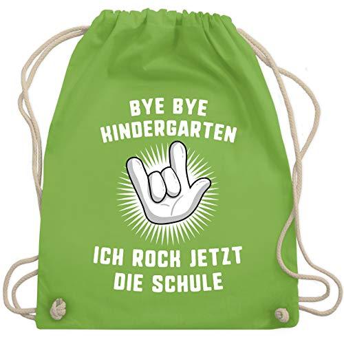 Einschulung und Schulanfang - Bye Bye Kindergarten Ich rock jetzt die Schule Hand - Unisize - Hellgrün - WM110 - Turnbeutel & Gym Bag