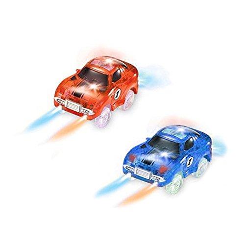 Spielzeug Auto,MIGE Spielzeug Auto Spur Led Licht Auto Im Dunkeln Leuchten Zubehör Kompatibel mit den Meisten Auto Rennen Magic Tracks,Ideal Für Childs Geschenke(Packung von (Kostüm Jungen Auto Rennen)