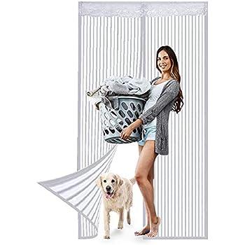 Acc/ès Facile MENGH Magn/étique Moustiquaire Porte Rideau 160x235cm Convient /à la Taille Blanc Rideau/magn/étique/pour/Portes Automatiquement ferm/é Pliable