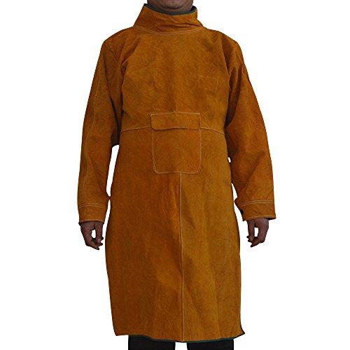 Ochenta saldatura grembiule in pelle bovina saldatura giacca di sicurezza resistente al fuoco officina grembiule lungo tuta abbigliamento per saldatore giallo (con collare)
