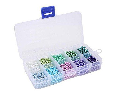 1000Teile Rund 4mm Glas Perlen Nachahmung Perlen Sortiment Mix Farben mit Box für Schmuck DIY Basteln, -