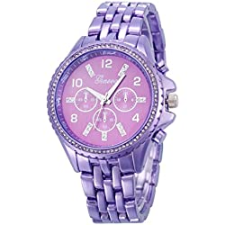 Koly Classic Luxury Women's Stainless Steel Quartz Analog Wrist Watch Purple