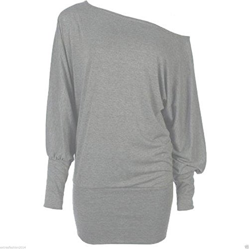 Women's Grey Off Shoulder Batwing Sleeve Top - Ideal for Flashdance Look