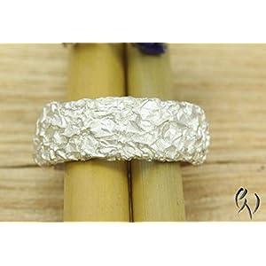 Breiter Ring aus Silber 925/-, Zerknittert, 8 mm