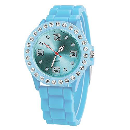 Taffstyle Damen-Armbanduhr Sport Analog Quarz mit Silikonarmband Strass Kristallen Silikon Uhr Aqua