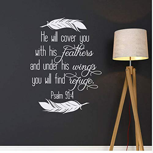 Er deckte das mit seinen Stiften ab. Psalm 91: 4. Christian Wall Religious Vers of The Bible Wall schreiben 42X57Cm