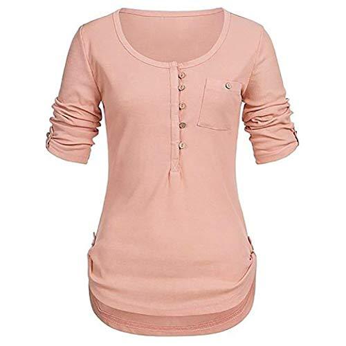 iYmitz Damen Solide Langarm Knopf Bluse Pullover Tops Shirt Mit Taschen(Orange,EU-42/CN-L)