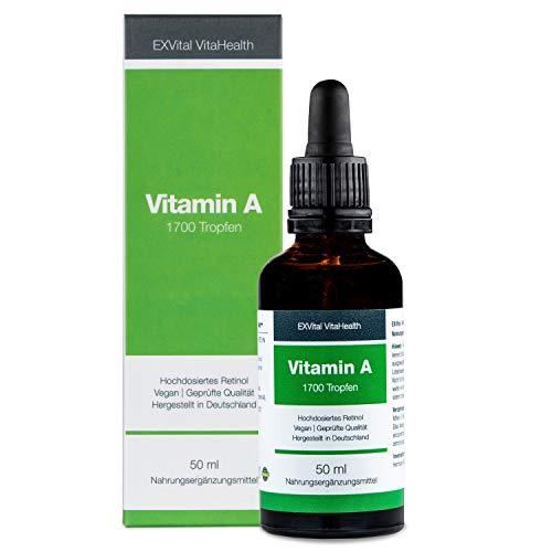 Vitamin A Tropfen von EXVital Vitahealth - 5000 I.E (1500 µg) pro Tagesdosis, 50 Ml= 1700 Tropfen, laborgeprüft, hochdosiertes Retinol - Vegan - Vitamin A flüssig Liquid, Hergestellt in Deutschland