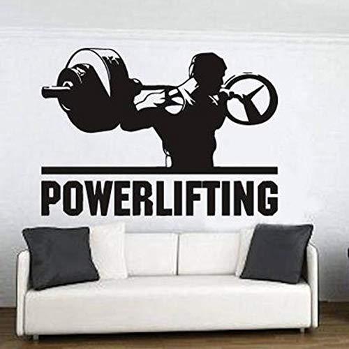ASFGA Gewichtheben Wandtattoo Schlafzimmer Dekoration Motivation Übung Fitnessstudio Vinyl Wandaufkleber Sport Bodybuilding Kunst Wandbild 90X126CM