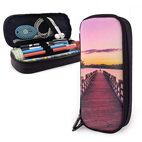 Brown Wooden Sea Dock PU Leather Pouch Storage Bags Portable Student Pencil Office Stationery Bag Zipper Wallets Makeup Multi-Function Bag -