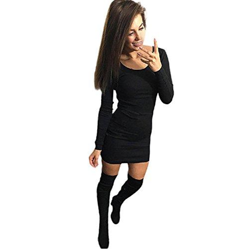 dünnes Kleid, Yogogo Frauen Fashion Solid Langarm-dünnes Kleid (S, Schwarz) (Doppel-faltenrock)