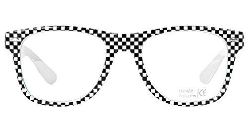 Nerd Brille Karo Design Selten Kayne West Sonnenbrille Streberbrille Nerdbrille klar Glas