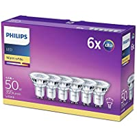 Philips LED GU10 Light Bulbs, 4.6 W (50 W) - Warm White, Pack of 6