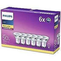 Philips LED Spot - Confezione Faretti LED, Attacco GU10, 4.6 W Equivalenti a 50 W, Luce Bianca Naturale Calda, 6 pezzi