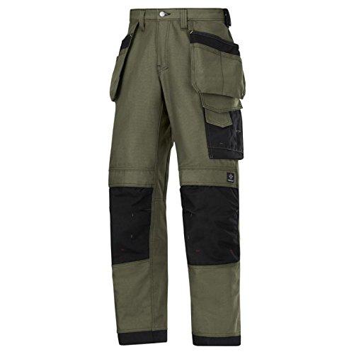 Snickers 3214 - Pantaloni da lavoro con tasche, in tela verde / nero