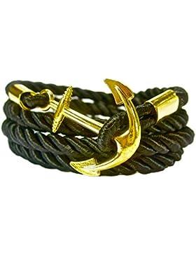 Geralin Gioielli Herren Handmade Anker Armband in Schwarz Gold