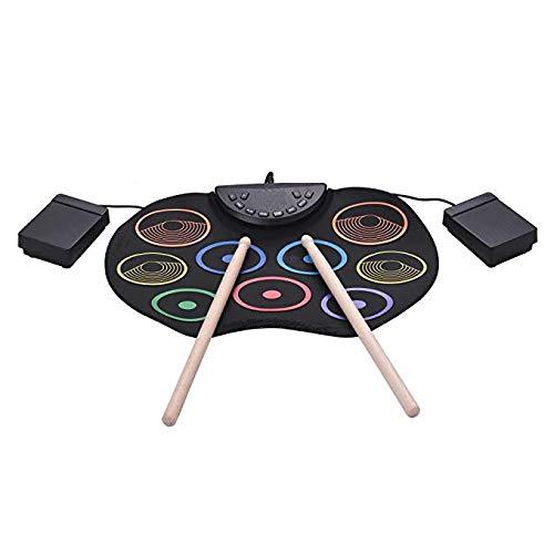 SJDZQ Flexibles, tragbares elektronisches Drum-Set zum Aufrollen, Übungsmatte zum Aufrollen, mit Kopfhörerbuchse, ohne Lautsprechertrommelpedal, stündliche Unterhaltungszeit