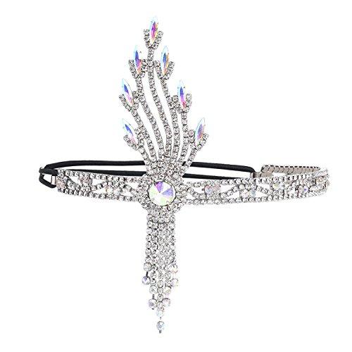 BABEYOND Damen Flapper Stirnband 1920s Stil Art Deco Inspiriert von Great Gatsby Blatt Medaillon Blinkende Kristalle Haarband 20er Jahre Kostüm Motto Party Accessoires (Stil5-Silber)