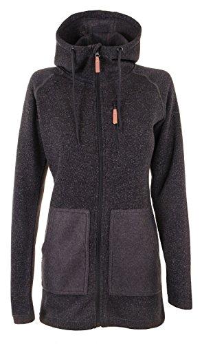 Chi Limited Edition (Twentyfour Damen Strick Fleece Mantel Finse - Lange Strickfleece Jacke mit Kapuze, warm und bequem - Limited Edition, anthrazit, 34, 476171)