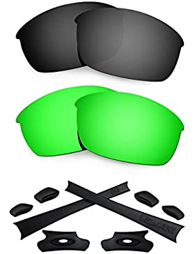 HKUCO For Oakley Flak Jacket Black/Green Polarized Replacement Lenses And Black Earsocks Rubber Kit