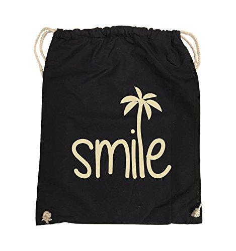 Comedy Bags - smile - PALME - Turnbeutel - 37x46cm - Farbe: Schwarz / Pink Schwarz / Beige