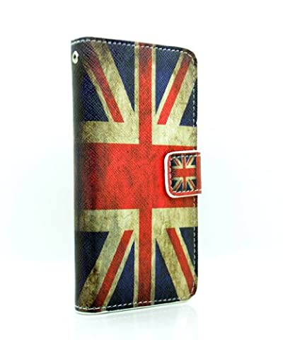 iPhone 5C Union Jack Vintage Printed PU Leather Purse Wallet Case With Credit Bank Charge Card Slots Accessories Smartphone Mobile Phone Cover