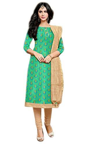 Salwar Suits For Women (Manmandir's Green Kora Silk Dress Material)