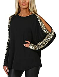 2a0412d4e9 YOINS Women Cold Shoulder Cutout Blouses Round Neck Long Sleeved Top Shirt  Pullover with Gloss Sequins