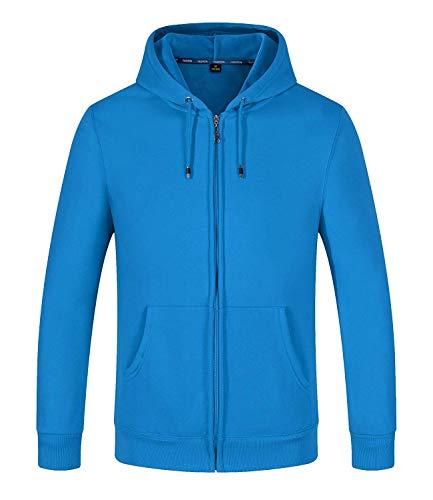 SELENECHEN Herren Sweatjacke Kapuzenpullover Sweatshirt Zip-Hoodie Herren Pullover Plus Samt Hoodie Sweat Hoody Sweatshirt Mit Reißverschluss (Blau, XL)