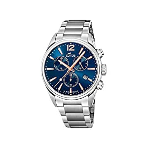 Reloj Lotus Chrono 18690/2 para Hombre, Esfera Azul y Redonda de 42 mm,