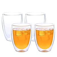 4 Pieces Double Wall Glasses Coffee Cups, Insulated Coffee Mugs, 350ml / 12oz Large