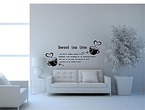 Sticker autocollant amovible Autocollant autocollant décoratif mural,Home Closet English Coffee