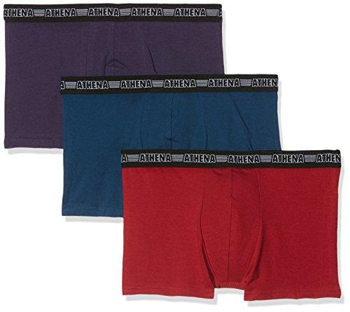 Athena Herren Badehose Basic Stretch, 3er Pack Multicolore (Cassis/Marine/Bordeaux)