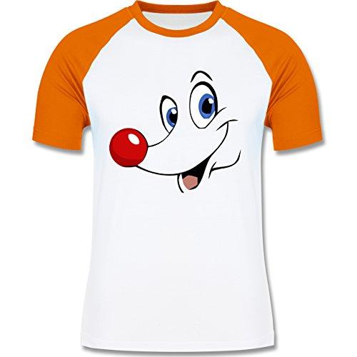 Weihnachten & Silvester - Rudolph Gesicht Rentier - zweifarbiges Baseballshirt für Männer Weiß/Orange