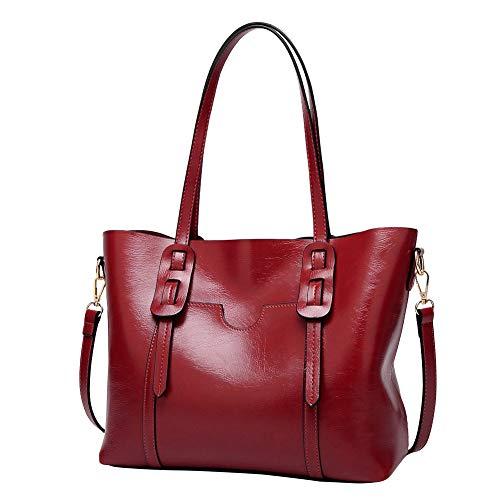 Santimon Damentasche Umhängetasche Leder Handtasche Damen Tasche Büro Vintage Schule Travel Crossbody Weinrot