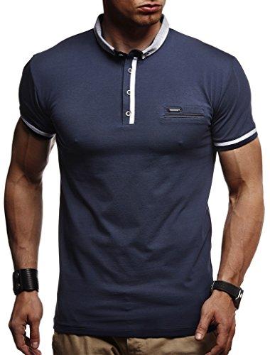LEIF NELSON Herren Sommer T-Shirt Polo Kragen Slim Fit Baumwolle-Anteil | Basic schwarzes Männer Poloshirts Longsleeve-Sweatshirt Kurzarm | Weißes Kurzarmshirts lang | LN1280 Dunkel Blau Small