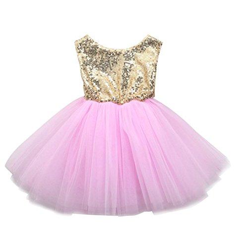 Outfits Sets Kind Janly 0-4 Jahre altes Mädchen Herz Pailletten Kleid Party Prinzessin Tutu Tüll Kleider (2-3 Jahre altes, Rosa)