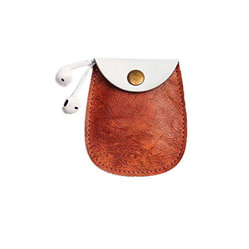 Preisvergleich Produktbild Zhuhaixmy Klein Leder Tasche kabellos Kopfhörer Daten Linie Lagerung Paket zum Apple Airpod Coffee