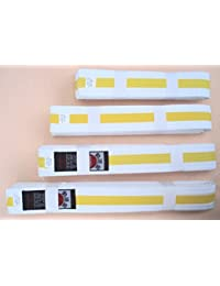 All Martial Arts Belts - White with Yellow Stripe