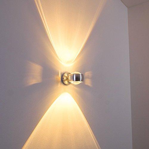 Leuchten Metall-halogen-licht-lampe (Wandlampe halbrund in Silber mit Seitenschlitzen für tolle Lichtmuster - dimmbare Effektlampe für das Wohnzimmer oder andere Räume in Silber aus Metall)