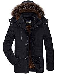 uirend Hombre algodón Ropa de Abrigo - con Capucha Abrigos Invierno Cálido Abrigos Cremallera Grueso A