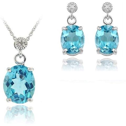 Sterling Argento 10,8ct Topazio Blu & Diamante Ciondolo Ovale Orecchini Set - Genuine Diamante Bridal Set
