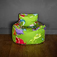 HomeZone® Kids Bean Bag Chair | Blue Pink Green Beige | Animals Cars Fairies Princess Dinosaurs Ocean | Covers and Beans