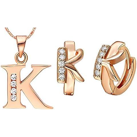 Bling fashion 18K oro rosa placcato 26lettere lettera K Collana e Orecchini